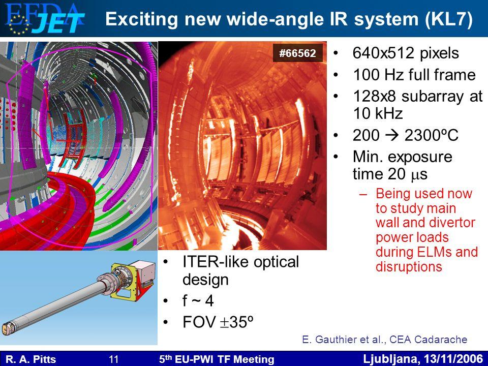 R. A. Pitts 11 5 th EU-PWI TF Meeting Ljubljana, 13/11/2006 #66562 640x512 pixels 100 Hz full frame 128x8 subarray at 10 kHz 200 2300ºC Min. exposure