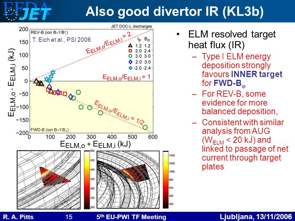 R. A. Pitts 15 5 th EU-PWI TF Meeting Ljubljana, 13/11/2006 Also good divertor IR (KL3b) ELM resolved target heat flux (IR) –Type I ELM energy deposit