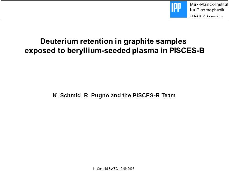 Max-Planck-Institut für Plasmaphysik EURATOM Assoziation K. Schmid SWEG 12.09.2007 Deuterium retention in graphite samples exposed to beryllium-seeded