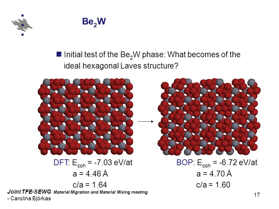 17 Joint TFE-SEWG Material Migration and Material Mixing meeting - Carolina Björkas Joint TFE-SEWG Material Migration and Material Mixing meeting - Carolina Björkas Be 2 W Initial test of the Be 2 W phase: What becomes of the ideal hexagonal Laves structure.
