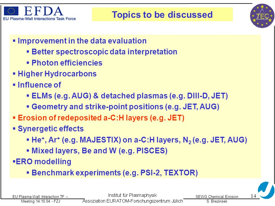 EU Plasma-Wall Interaction TF – Meeting 14.10.04 - FZJ SEWG Chemical Erosion S. Brezinsek TEC 14 Improvement in the data evaluation Better spectroscop