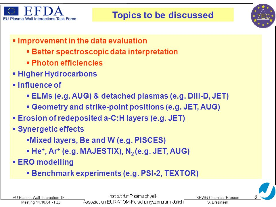 EU Plasma-Wall Interaction TF – Meeting 14.10.04 - FZJ SEWG Chemical Erosion S. Brezinsek TEC 6 Improvement in the data evaluation Better spectroscopi