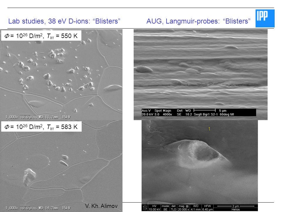 SEWG Fuel Retention July 2008 © Matej Mayer = 10 26 D/m 2, T irr = 550 K = 10 26 D/m 2, T irr = 583 K Lab studies, 38 eV D-ions: BlistersAUG, Langmuir-probes: Blisters V.