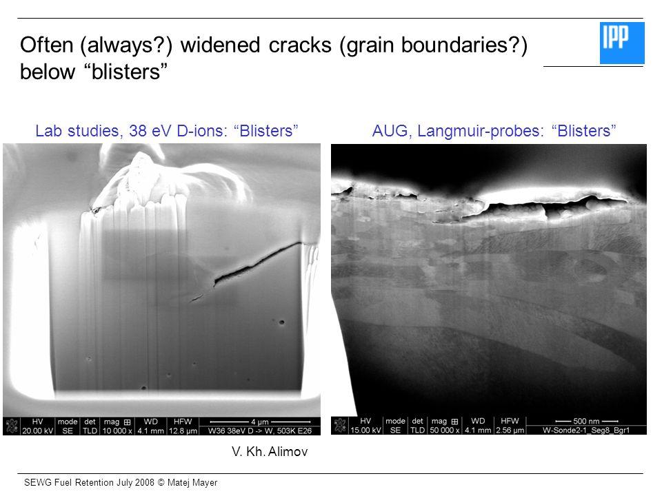 SEWG Fuel Retention July 2008 © Matej Mayer Lab studies, 38 eV D-ions: BlistersAUG, Langmuir-probes: Blisters Often (always?) widened cracks (grain bo