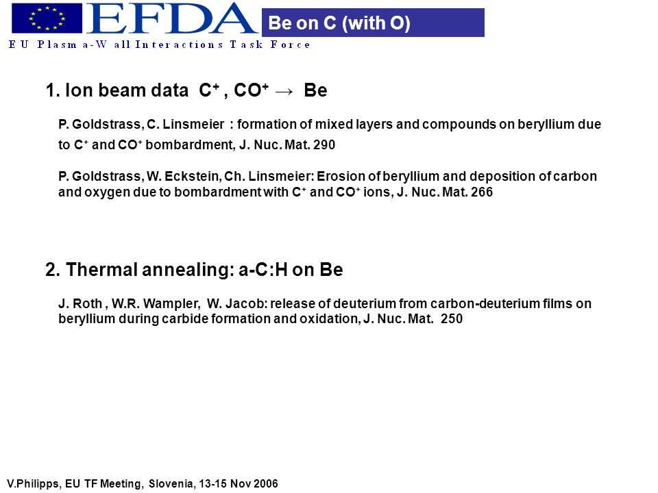V.Philipps, EU TF Meeting, Slovenia, 13-15 Nov 2006 Be on C (with O) 1. Ion beam data C +, CO + Be P. Goldstrass, C. Linsmeier : formation of mixed la