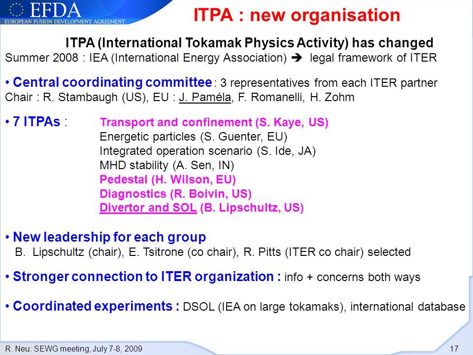 R. Neu: SEWG meeting, July 7-8, 2009 17 ITPA : new organisation ITPA (International Tokamak Physics Activity) has changed Summer 2008 : IEA (Internati