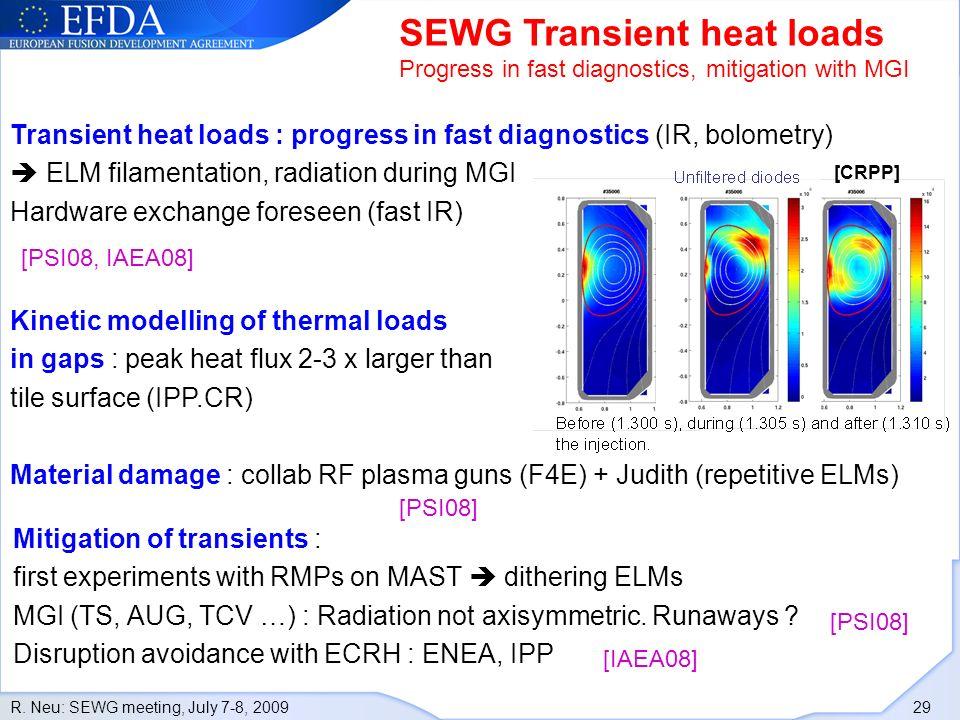 R. Neu: SEWG meeting, July 7-8, 2009 29 SEWG Transient heat loads Progress in fast diagnostics, mitigation with MGI [CRPP] Transient heat loads : prog