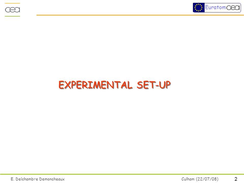 2 E. Delchambre Demoncheaux Culham (22/07/08) Euratom EXPERIMENTAL SET-UP