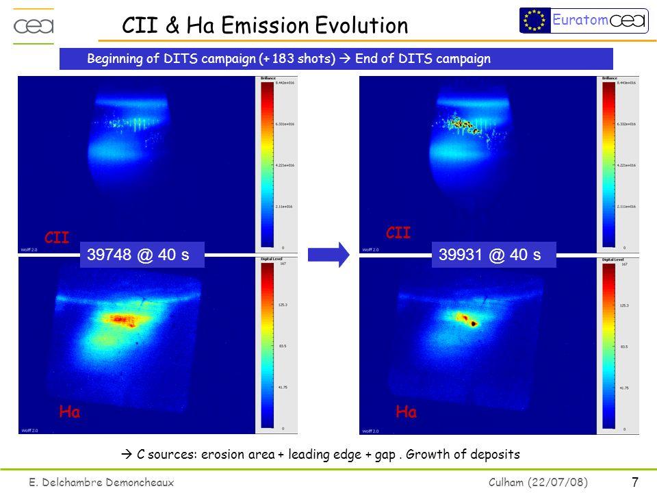 7 E. Delchambre Demoncheaux Culham (22/07/08) Euratom C sources: erosion area + leading edge + gap.