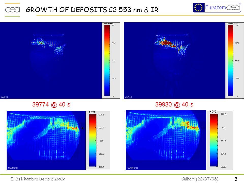 8 E. Delchambre Demoncheaux Culham (22/07/08) Euratom GROWTH OF DEPOSITS C2 553 nm & IR 39774 @ 40 s 39930 @ 40 s