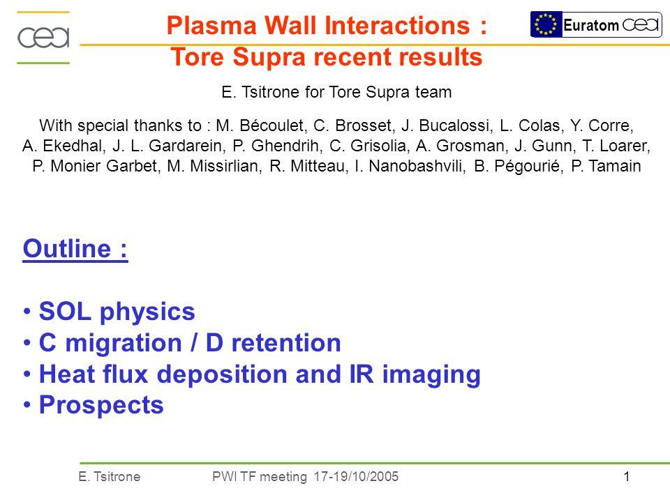 1E. TsitronePWI TF meeting 17-19/10/2005 Euratom Plasma Wall Interactions : Tore Supra recent results E. Tsitrone for Tore Supra team With special tha