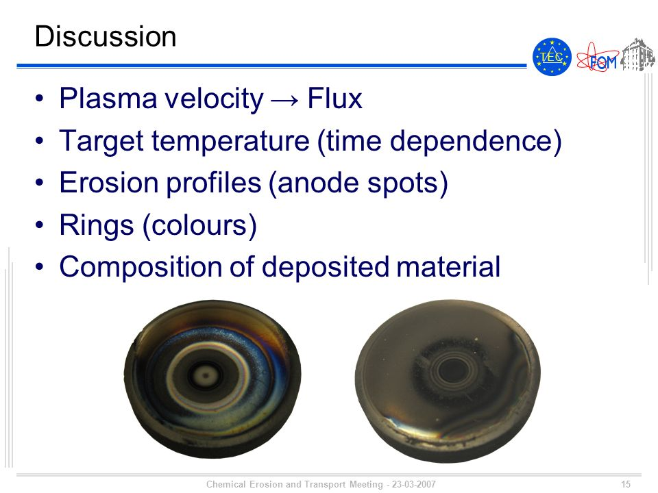 15 T E CT E C Chemical Erosion and Transport Meeting - 23-03-2007 Discussion Plasma velocity Flux Target temperature (time dependence) Erosion profiles (anode spots) Rings (colours) Composition of deposited material
