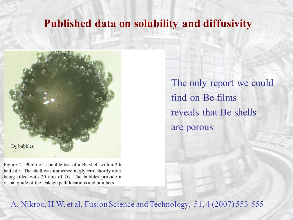 Published data on solubility and diffusivity A. Nikroo, H.W.
