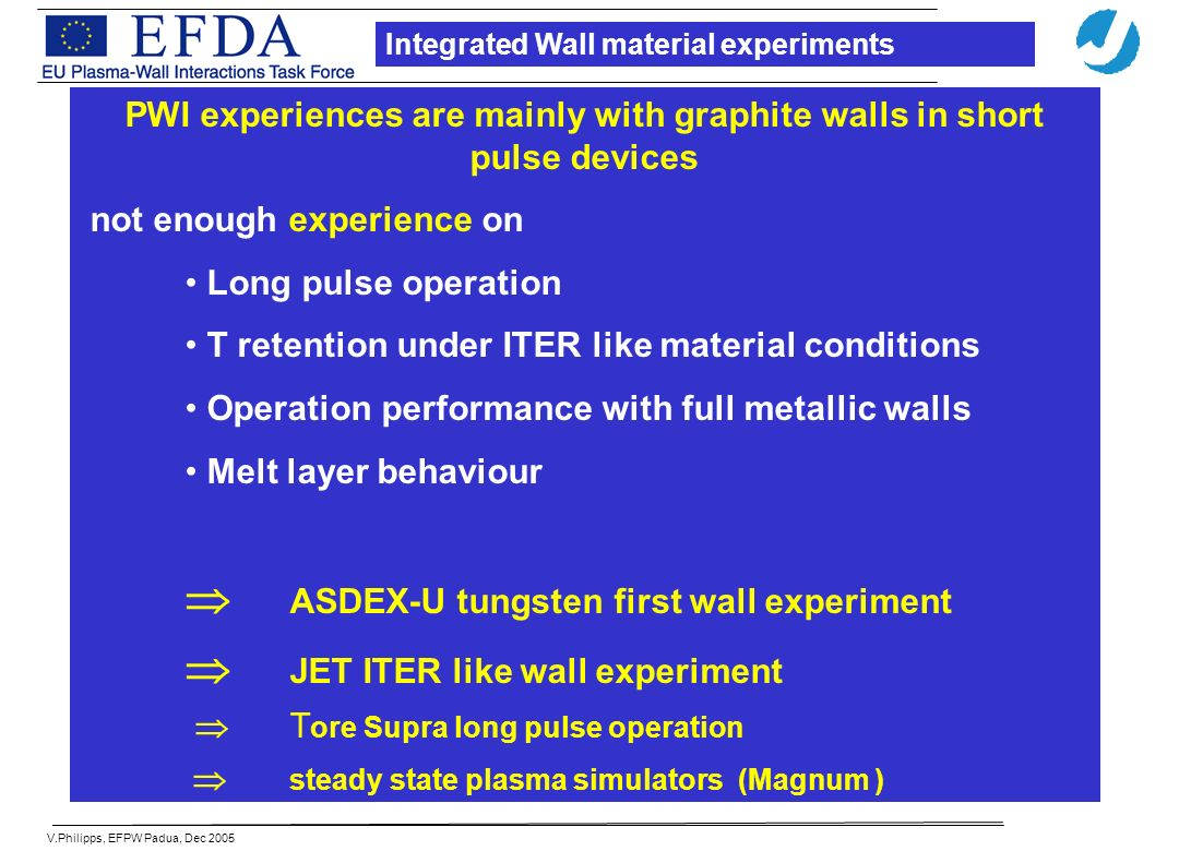 V.Philipps, EFPW Padua, Dec 2005 PWI experiences are mainly with graphite walls in short pulse devices not enough experience on Long pulse operation T retention under ITER like material conditions Operation performance with full metallic walls Melt layer behaviour ASDEX-U tungsten first wall experiment JET ITER like wall experiment T ore Supra long pulse operation steady state plasma simulators (Magnum ) Integrated Wall material experiments