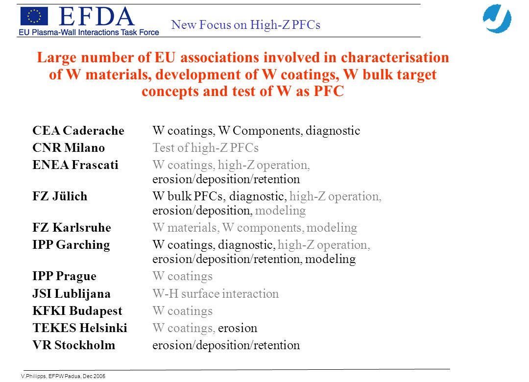 V.Philipps, EFPW Padua, Dec 2005 New Focus on High-Z PFCs Large number of EU associations involved in characterisation of W materials, development of