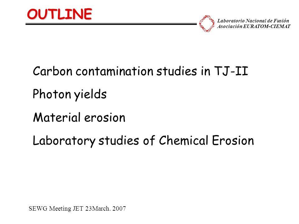 Laboratorio Nacional de Fusión Asociación EURATOM-CIEMAT OUTLINE Carbon contamination studies in TJ-II Photon yields Material erosion Laboratory studi
