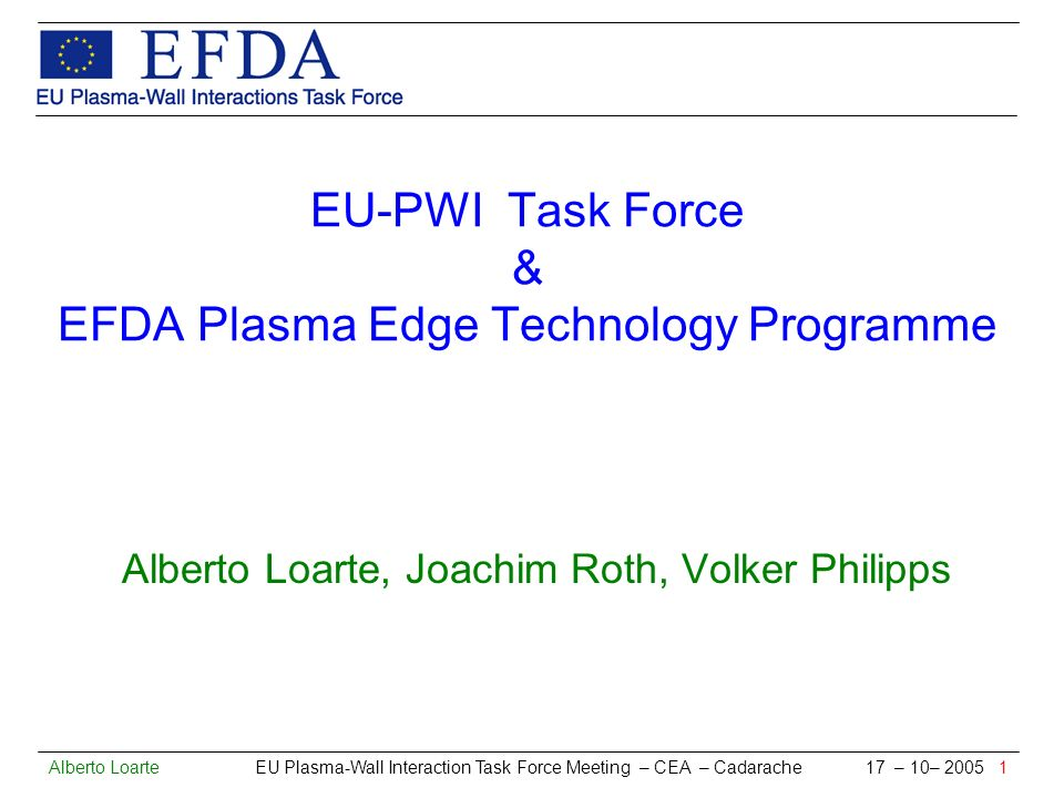 Alberto Loarte EU Plasma-Wall Interaction Task Force Meeting – CEA – Cadarache 17 – 10– 2005 12 Description of Tasks and Status (VI) CARWMOD : MD modelling of W plasma-wall interactions (FZK, TEKES) Emphasis of W compound effects and W blistering FZK Studies of W-O system under D flux TEKES Studies of W-C system under D flux TEKES W blistering under D and He flux Example Result He (@ E inc = 50/100 eV) on W forms bubbles that escape W without causing blister