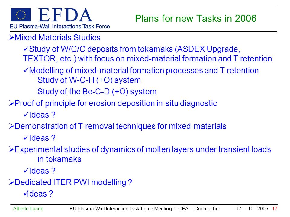 Alberto Loarte EU Plasma-Wall Interaction Task Force Meeting – CEA – Cadarache 17 – 10– 2005 17 Plans for new Tasks in 2006 Mixed Materials Studies Study of W/C/O deposits from tokamaks (ASDEX Upgrade, TEXTOR, etc.) with focus on mixed-material formation and T retention Modelling of mixed-material formation processes and T retention Study of W-C-H (+O) system Study of the Be-C-D (+O) system Proof of principle for erosion deposition in-situ diagnostic Ideas .