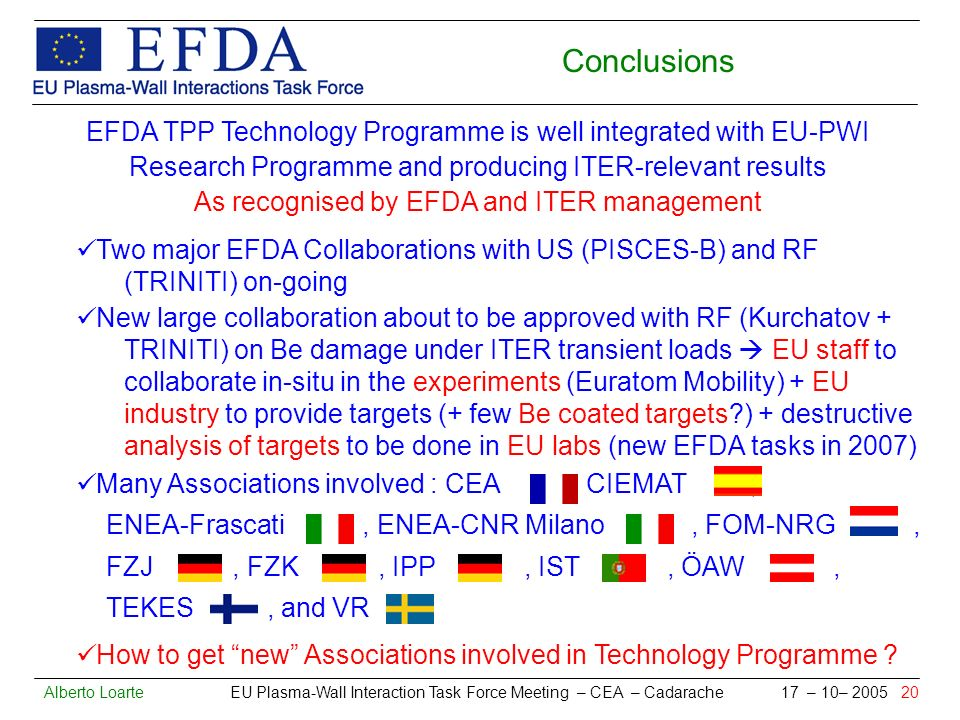 Alberto Loarte EU Plasma-Wall Interaction Task Force Meeting – CEA – Cadarache 17 – 10– 2005 20 Conclusions EFDA TPP Technology Programme is well integrated with EU-PWI Research Programme and producing ITER-relevant results As recognised by EFDA and ITER management Two major EFDA Collaborations with US (PISCES-B) and RF (TRINITI) on-going New large collaboration about to be approved with RF (Kurchatov + TRINITI) on Be damage under ITER transient loads EU staff to collaborate in-situ in the experiments (Euratom Mobility) + EU industry to provide targets (+ few Be coated targets ) + destructive analysis of targets to be done in EU labs (new EFDA tasks in 2007) Many Associations involved : CEA, CIEMAT, ENEA-Frascati, ENEA-CNR Milano, FOM-NRG, FZJ, FZK, IPP, IST, ÖAW, TEKES, and VR How to get new Associations involved in Technology Programme