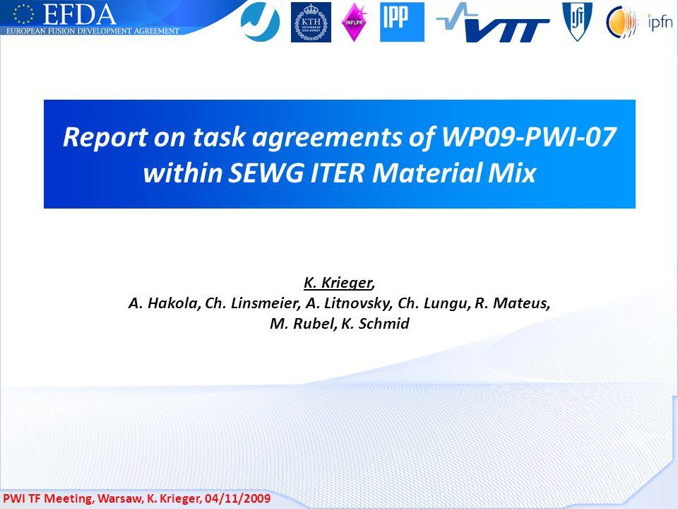 PWI TF Meeting, Warsaw, K.