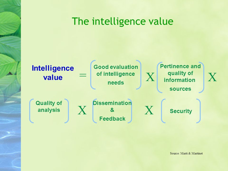The intelligence value Source: Marti & Martinet Pertinence and quality of information sources Good evaluation of intelligence needs Quality of analysi