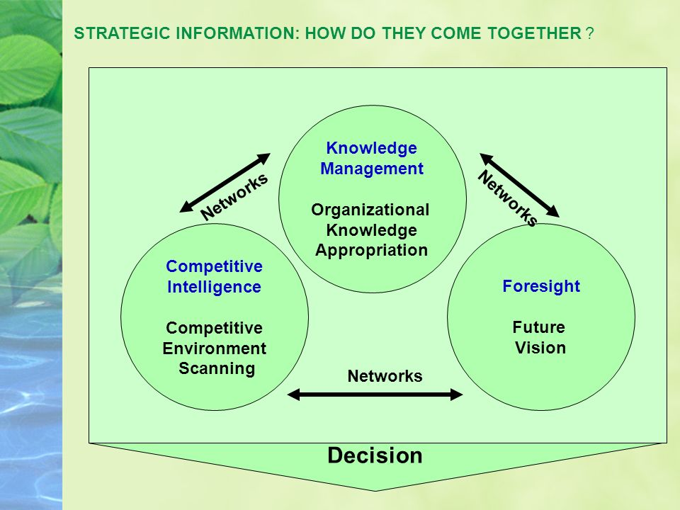 Competitive Intelligece, Knowledge Management and Foresight Knowledge Management Organizational Knowledge Appropriation Foresight Future Vision Competitive Intelligence Competitive Environment Scanning Decision Networks Future Past/ Present Present/ Future