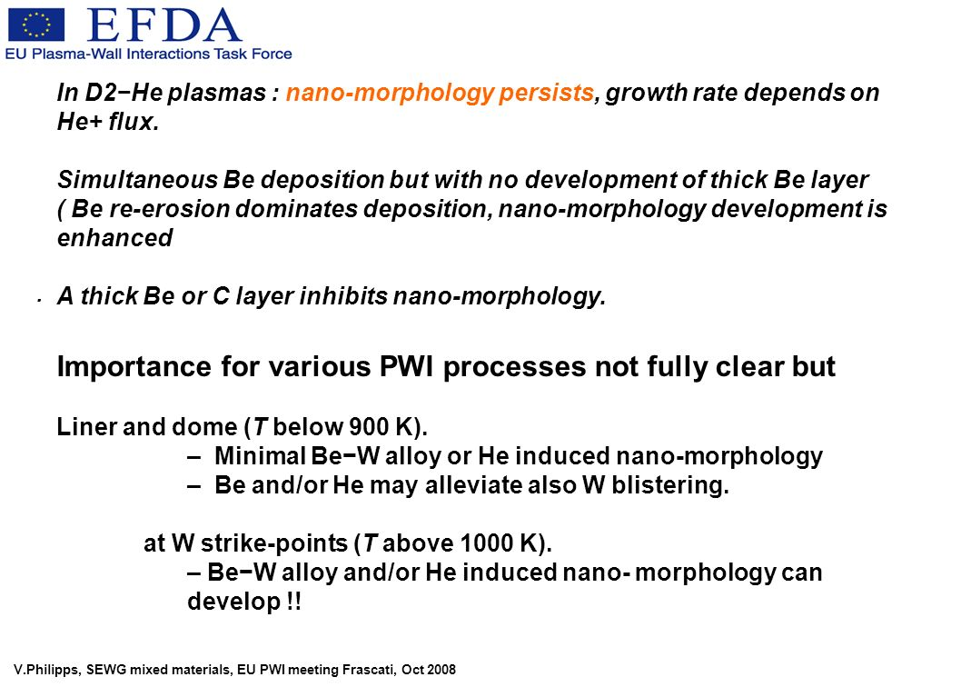 V.Philipps, SEWG mixed materials, EU PWI meeting Frascati, Oct 2008 In D2He plasmas : nano-morphology persists, growth rate depends on He+ flux. Simul