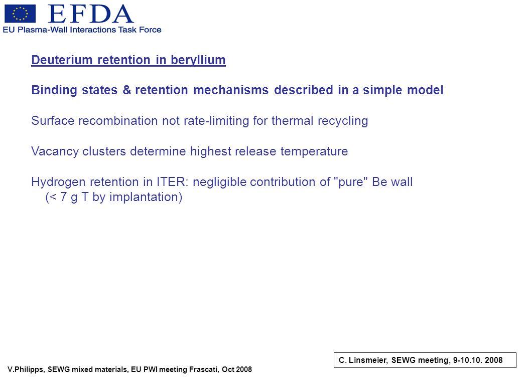 V.Philipps, SEWG mixed materials, EU PWI meeting Frascati, Oct 2008 Deuterium retention in beryllium Binding states & retention mechanisms described i