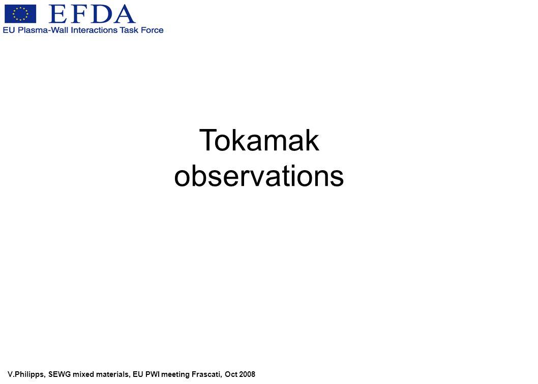 V.Philipps, SEWG mixed materials, EU PWI meeting Frascati, Oct 2008 Tokamak observations