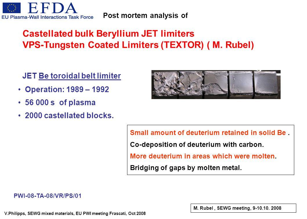 V.Philipps, SEWG mixed materials, EU PWI meeting Frascati, Oct 2008 JET Be toroidal belt limiter Operation: 1989 – 1992 56 000 s of plasma 2000 castel