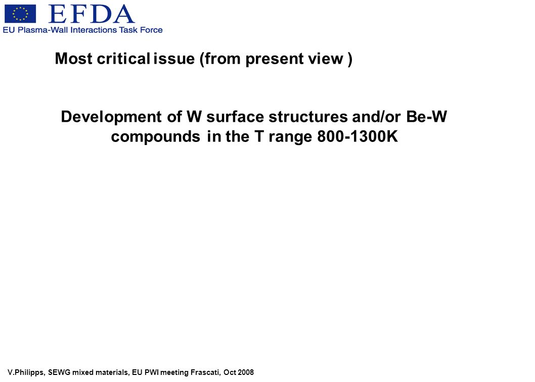 V.Philipps, SEWG mixed materials, EU PWI meeting Frascati, Oct 2008 Most critical issue (from present view ) Development of W surface structures and/o