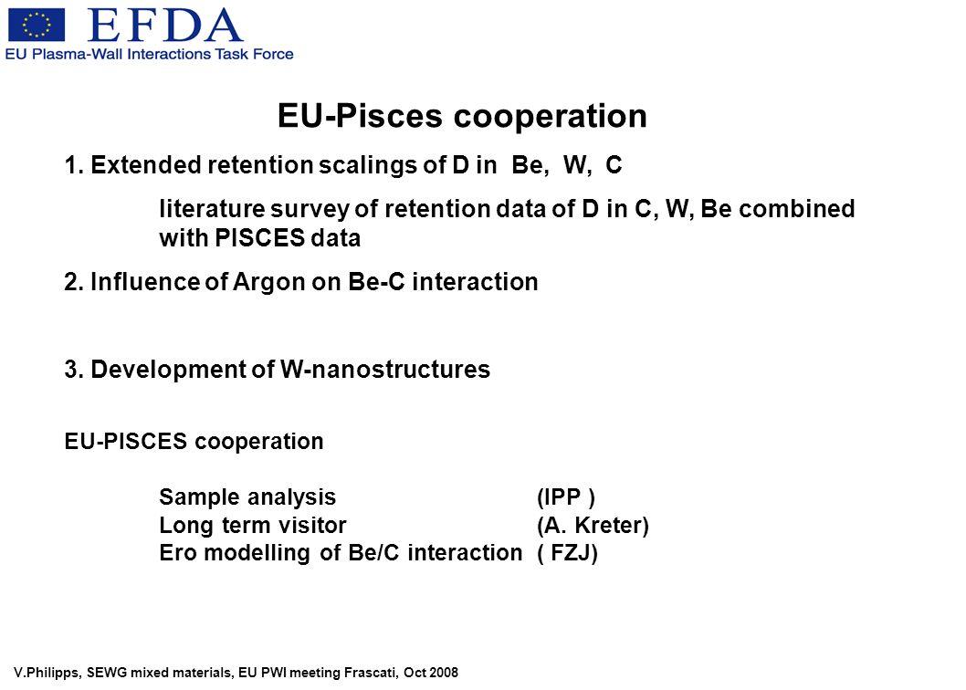 V.Philipps, SEWG mixed materials, EU PWI meeting Frascati, Oct 2008 EU-Pisces cooperation 1.
