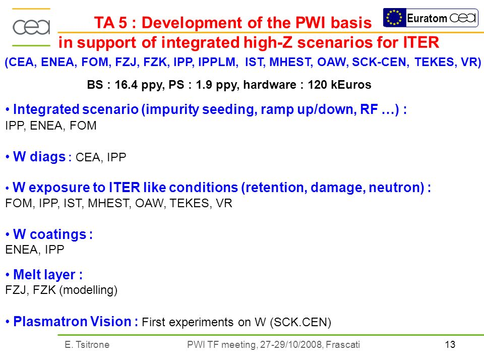 13E. Tsitrone PWI TF meeting, 27-29/10/2008, Frascati Euratom TA 5 : Development of the PWI basis in support of integrated high-Z scenarios for ITER (