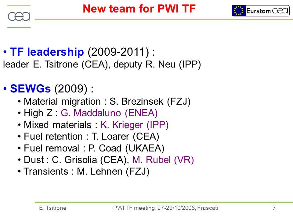 7E. Tsitrone PWI TF meeting, 27-29/10/2008, Frascati Euratom New team for PWI TF TF leadership (2009-2011) : leader E. Tsitrone (CEA), deputy R. Neu (