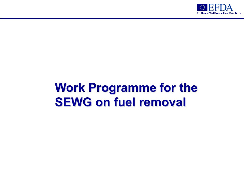 Work Programme for the SEWG on fuel removal