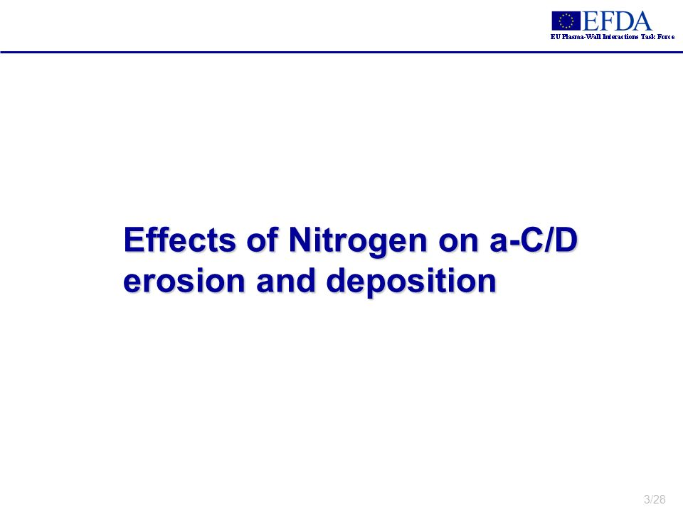 3/28 Effects of Nitrogen on a-C/D erosion and deposition