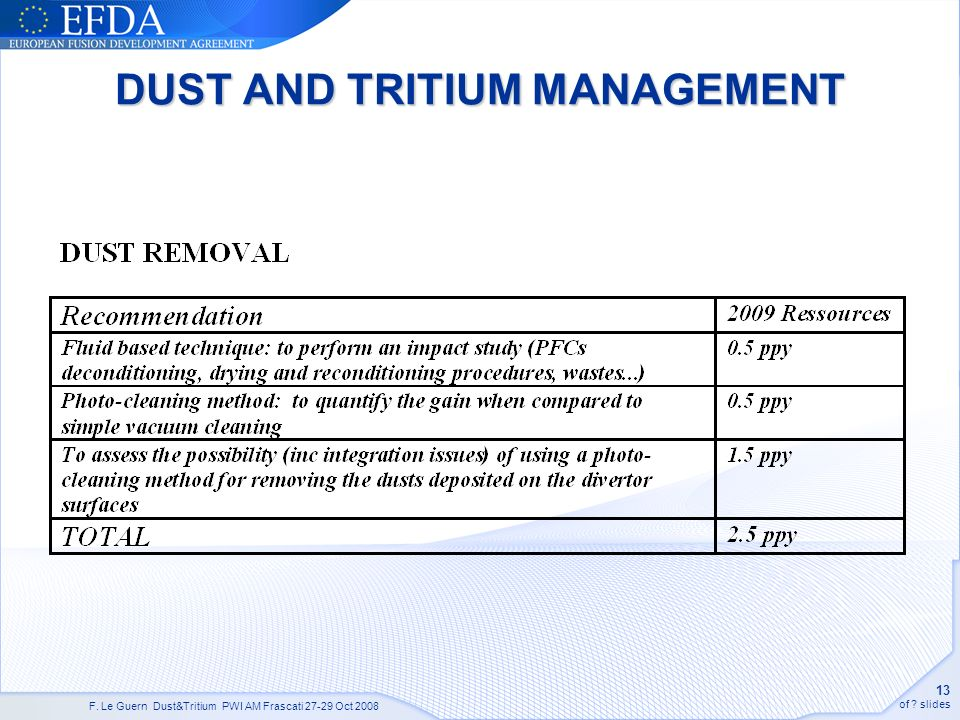 F. Le Guern Dust&Tritium PWI AM Frascati 27-29 Oct 2008 13 of slides DUST AND TRITIUM MANAGEMENT