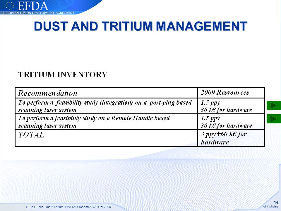 F. Le Guern Dust&Tritium PWI AM Frascati 27-29 Oct 2008 14 of ? slides DUST AND TRITIUM MANAGEMENT