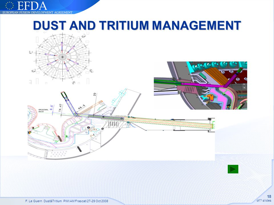 F. Le Guern Dust&Tritium PWI AM Frascati 27-29 Oct 2008 18 of ? slides DUST AND TRITIUM MANAGEMENT