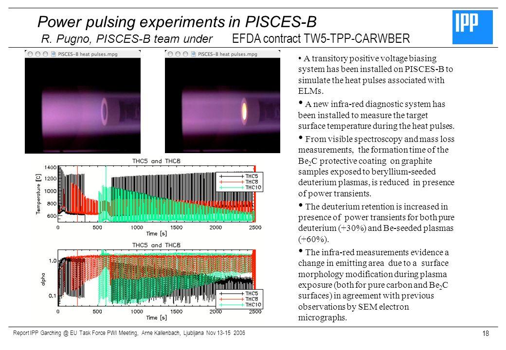 Report IPP Garching @ EU Task Force PWI Meeting, Arne Kallenbach, Ljubljana Nov 13-15 2006 18 Power pulsing experiments in PISCES-B R. Pugno, PISCES-B