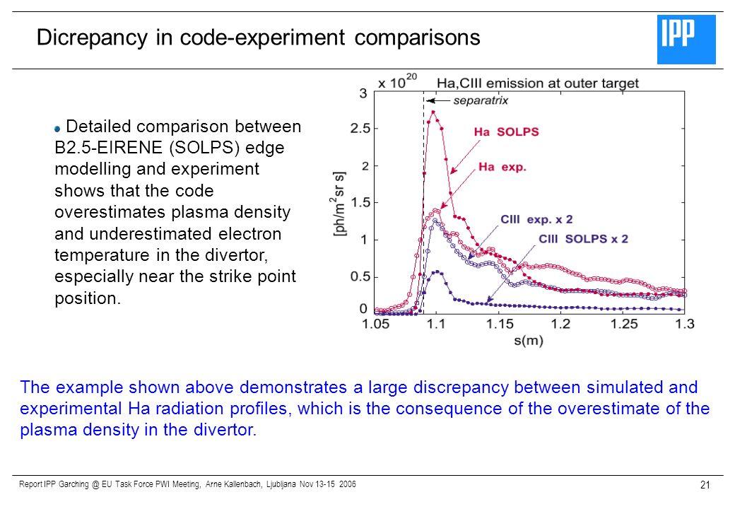 Report IPP Garching @ EU Task Force PWI Meeting, Arne Kallenbach, Ljubljana Nov 13-15 2006 21 Detailed comparison between B2.5-EIRENE (SOLPS) edge mod