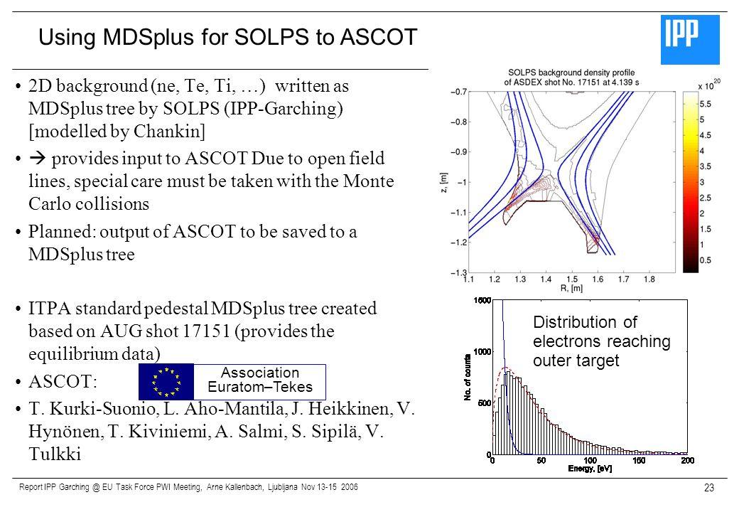Report IPP Garching @ EU Task Force PWI Meeting, Arne Kallenbach, Ljubljana Nov 13-15 2006 23 2D background (ne, Te, Ti, …) written as MDSplus tree by