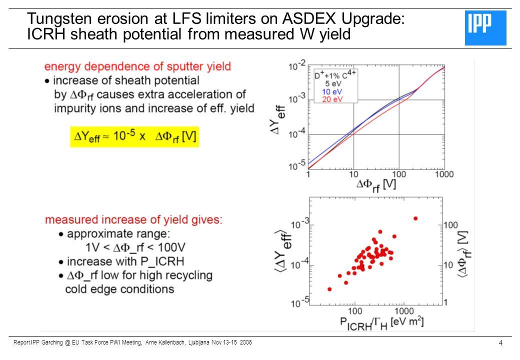 Report IPP Garching @ EU Task Force PWI Meeting, Arne Kallenbach, Ljubljana Nov 13-15 2006 4 Tungsten erosion at LFS limiters on ASDEX Upgrade: ICRH s