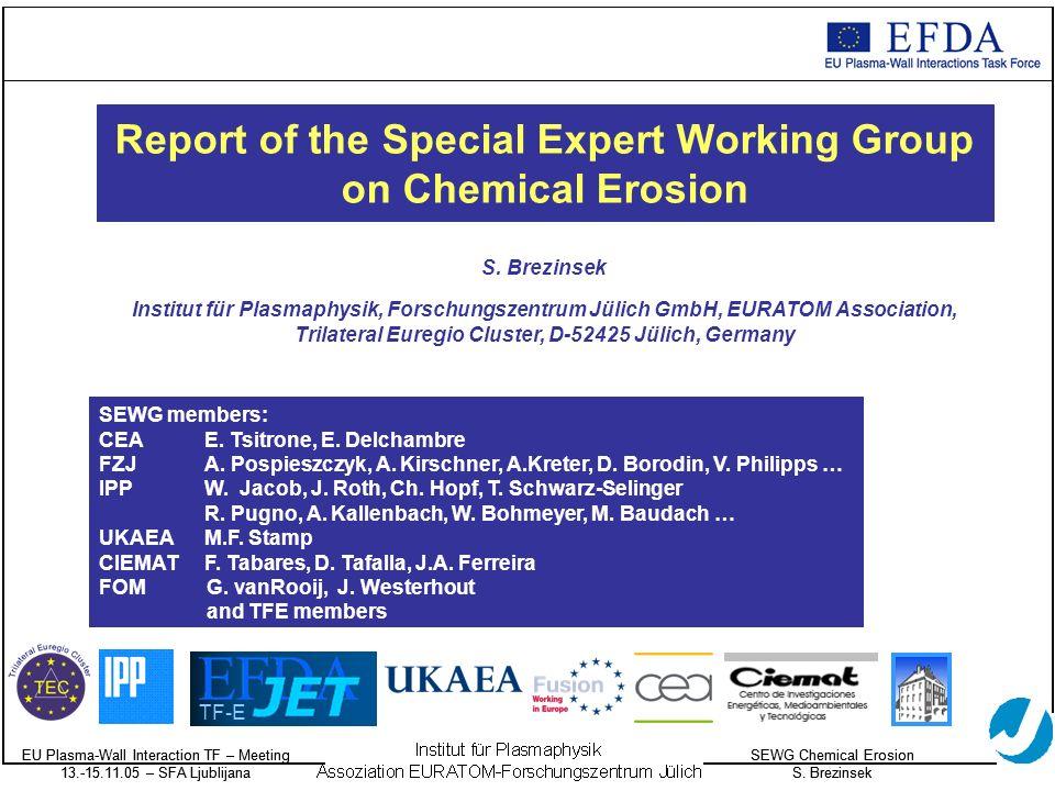 EU Plasma-Wall Interaction TF – Meeting 13.-15.11.05 – SFA Ljublijana SEWG Chemical Erosion S.