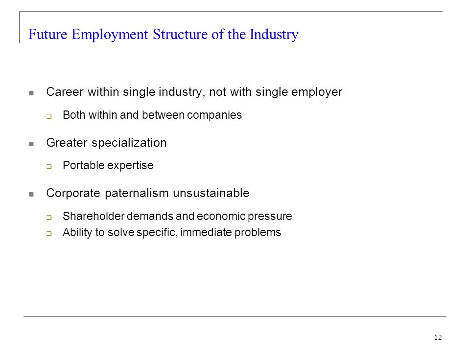 12 Future Employment Structure of the Industry Career within single industry, not with single employer Both within and between companies Greater specialization Portable expertise Corporate paternalism unsustainable Shareholder demands and economic pressure Ability to solve specific, immediate problems