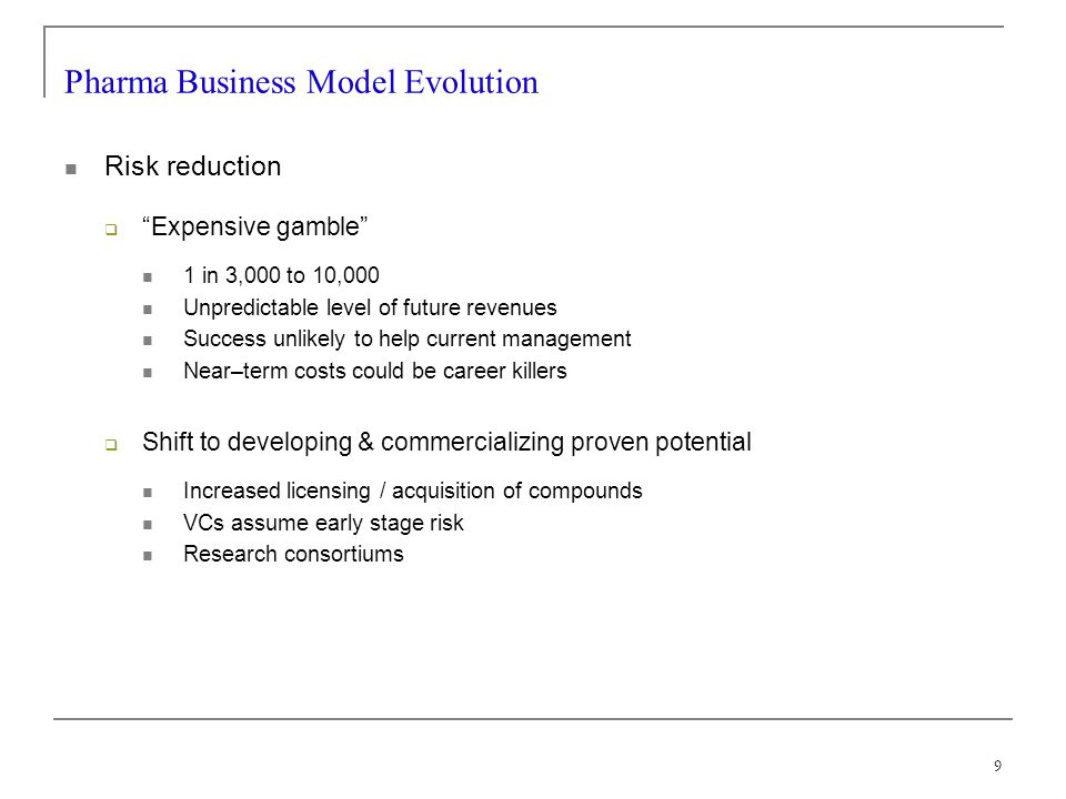 9 Pharma Business Model Evolution Risk reduction Expensive gamble 1 in 3,000 to 10,000 Unpredictable level of future revenues Success unlikely to help current management Near–term costs could be career killers Shift to developing & commercializing proven potential Increased licensing / acquisition of compounds VCs assume early stage risk Research consortiums
