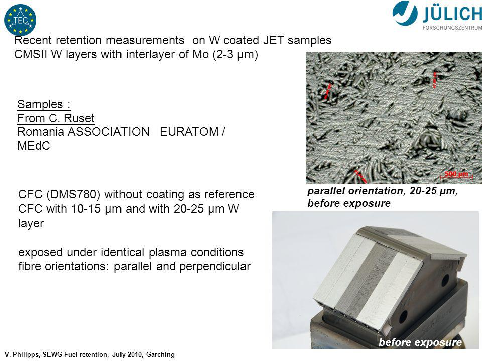 No 6 V. Philipps, SEWG Fuel retention, July 2010, Garching D retention in JET W-coatings Recent retention measurements on W coated JET samples CMSII W