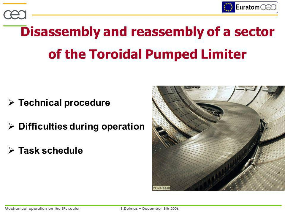 Euratom Mechanical operation on the TPL sector E.Delmas – December 8th 2006 1/13 Disassembly and reassembly of a sector of the Toroidal Pumped Limiter Technical procedure Difficulties during operation Task schedule