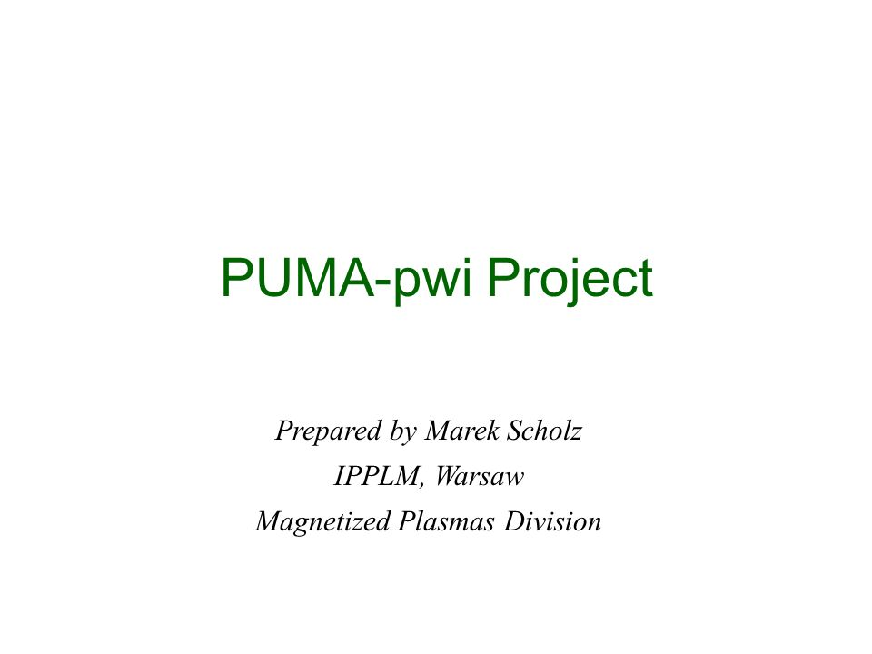 PUMA-pwi Project Prepared by Marek Scholz IPPLM, Warsaw Magnetized Plasmas Division