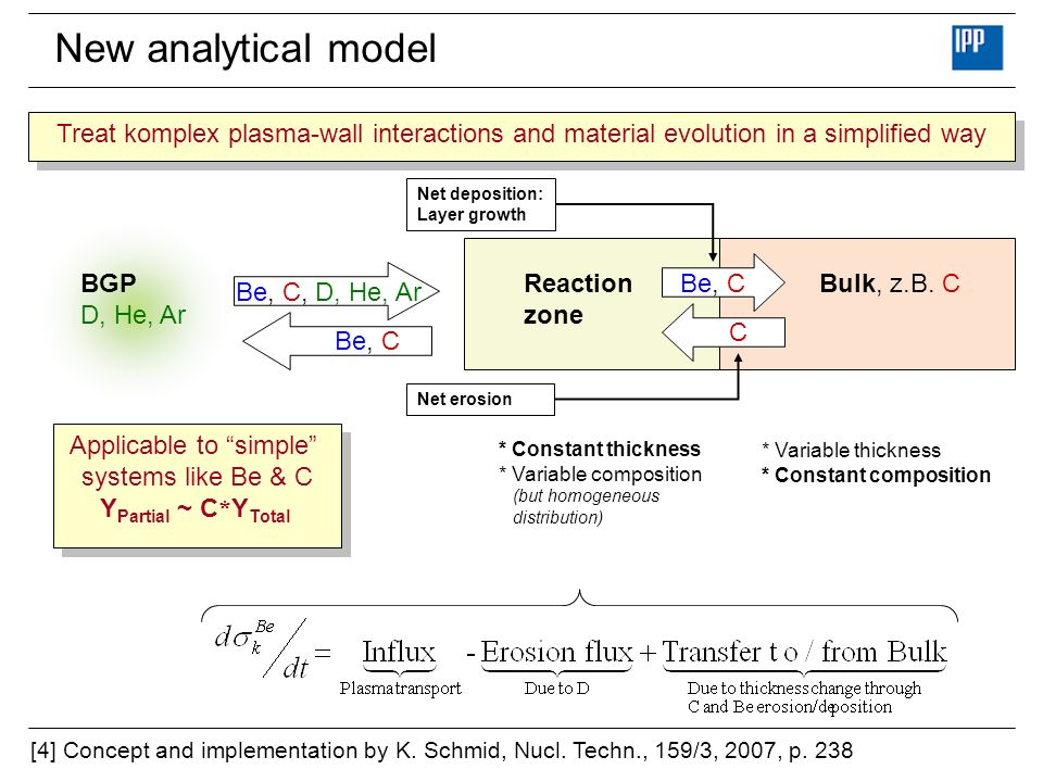 New analytical model Bulk, z.B. CReaction zone BGP D, He, Ar Be, C, D, He, Ar Be, C C Net deposition: Layer growth Net erosion [4] Concept and impleme
